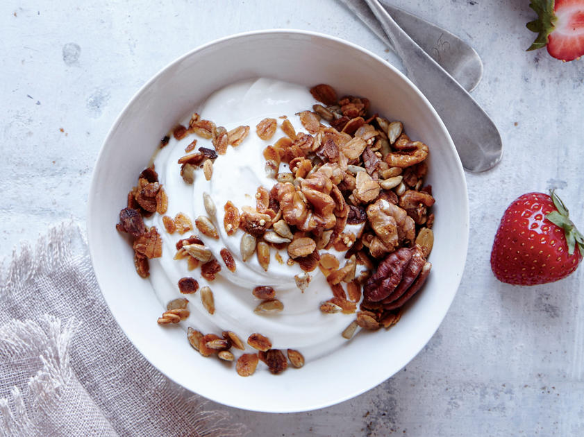 Our crunch-tastic granola has two-thirds less sugar than most store-bought varieties. A savory spin adds depth of flavor and palette intrigue. Enjoy this low sugar treat on top of Greek yogurt or mixed with fresh fruit.