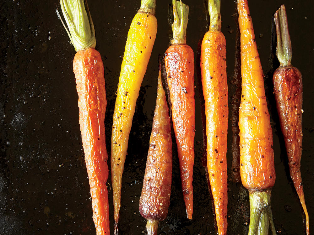 3. Arrange carrots in a single layer, well spaced on a baking sheet.