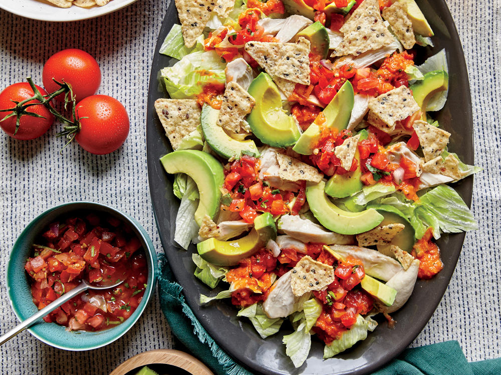 Shredded Chicken and Avocado Nacho Salad