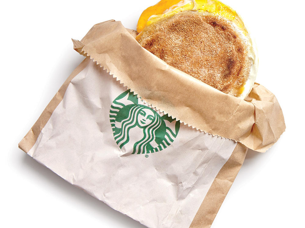 Starbucks Egg and Cheddar Breakfast Sandwich: Whole-wheat English muffin with egg and cheese because sometimes we don't have enough time to make breakfast in the morning.