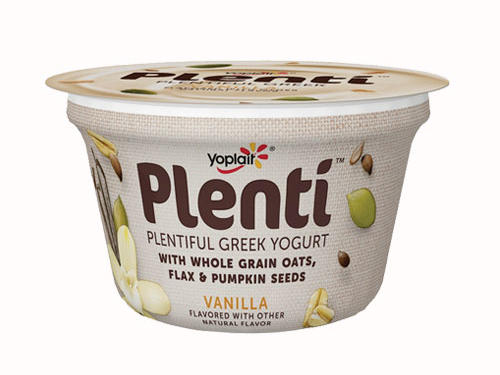 Yoplait's Plenti Greek Yogurt is one that we can definitely get behind. Made hearty with oats, flax seeds, and pumpkin seeds, though low in fiber, so top this with chopped unpeeled apple.