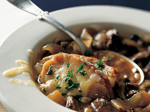 French Onion Soup with Beef and Barley