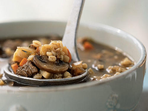 Try to use hulled barley for this soup-it's a less refined form of the grain that provides more fiber and iron than pearled barley, which will also work nicely. Beef stew meat also contributes iron, plus selenium. The mushrooms supply vitamin D and are a prime source of ergothioneine, an antioxidant that may help prevent cell damage and reduce the risk of cancer.