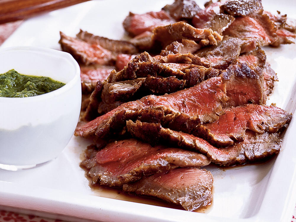 1601 Cumin-Pepper Flank Steak with Horseradish Chimichurri