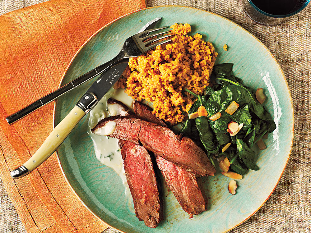 Ready in 25 minutes and coming in at less than 300 calories, this spicy steak with Gorgonzola cheese sauce is a flavorful and filling meal.
