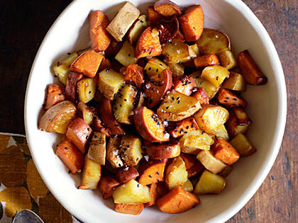 Coconut Pan-Roasted Sweet Potatoes with Sesame Seeds