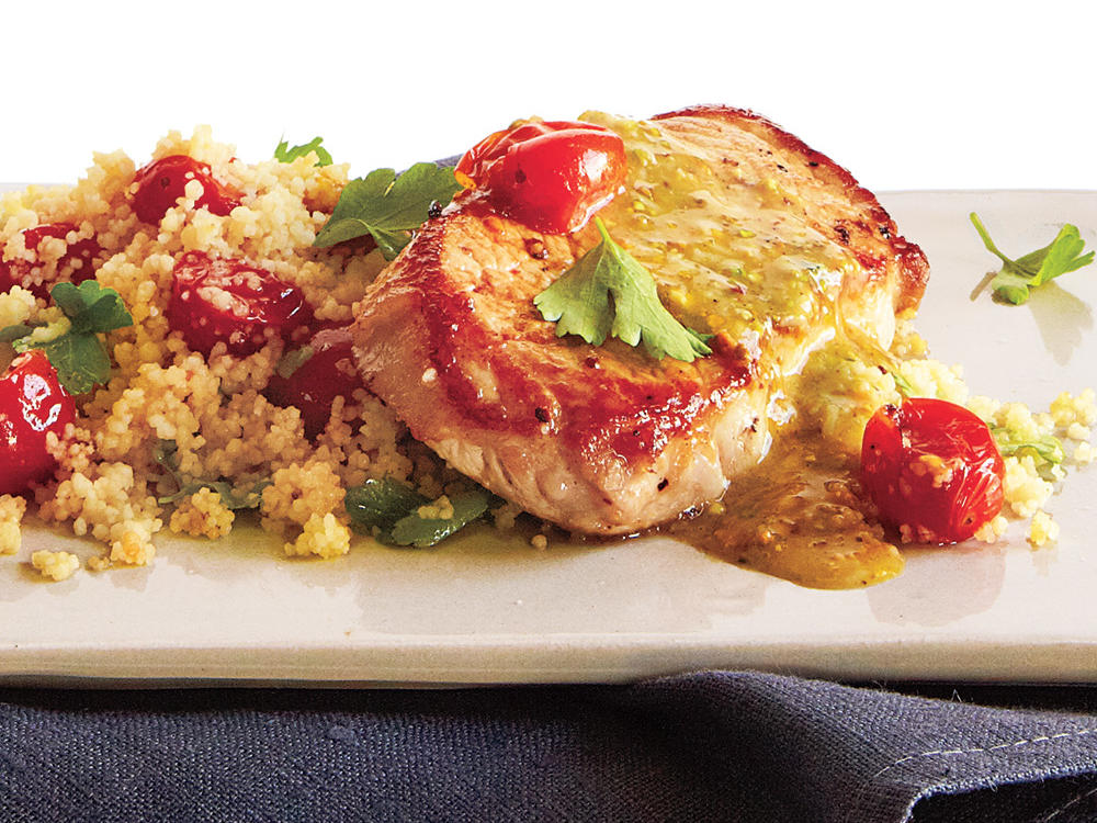 Pork over Couscous with Pistachio-Lemon Vinaigrette