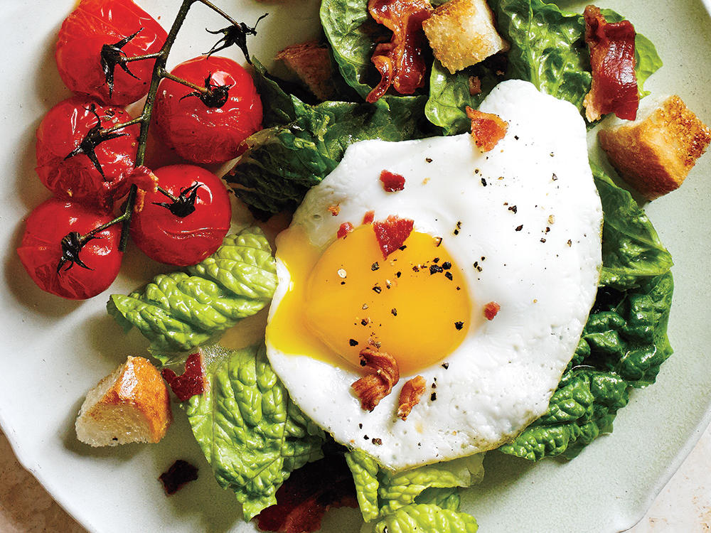 BLT Salad with Eggs Sunny Side Up