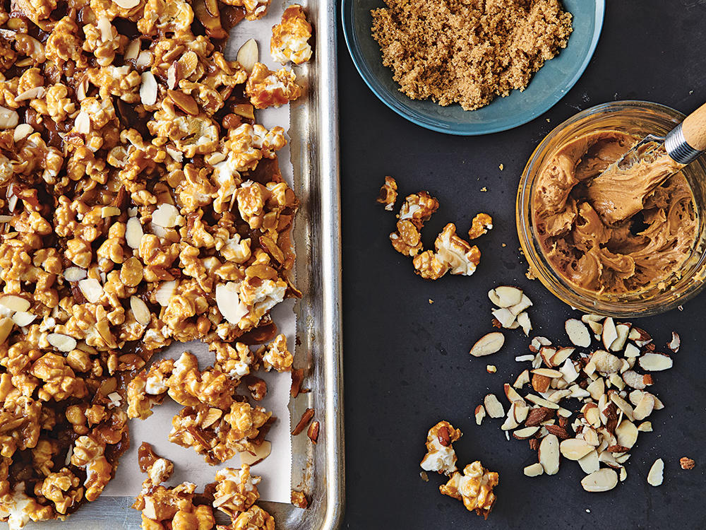 Here's a snack for those times when you want salt, sugar, protein, and crunch all in one bite. There's just enough butter to create a layer of caramel goodness. Peanut butter and sliced almonds provide richness. Make it for yourself or package for gifts.