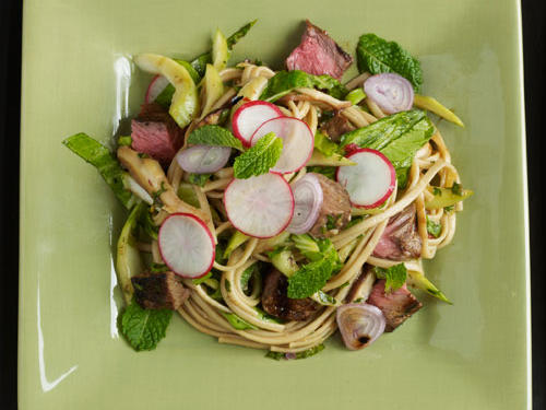 Serve a cool, Asian-style salad featuring tri-tip, a lean, triangular cut that comes from the end tip of the sirloin section. Substitute top sirloin, strip steak, or flank steak if tri-tip steak isn't available, and slice thinly instead of into cubes.