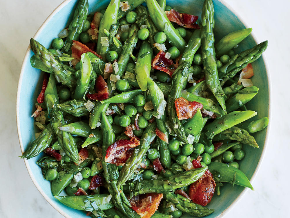 Asparagus and Peas with Warm Tarragon Vinaigrette