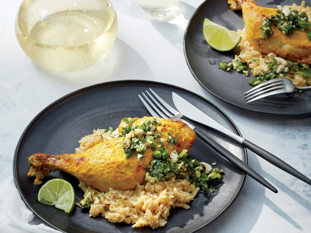 Golden Chicken with Cilantro-Cashew Pesto and Coconut Rice