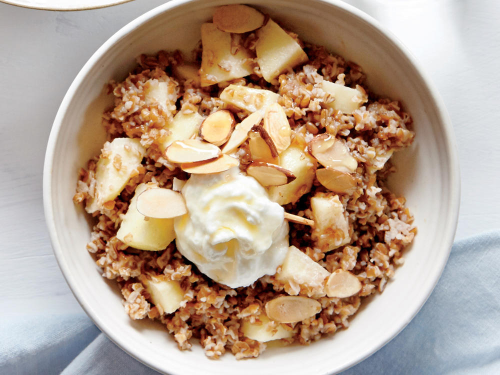 Bulgur Bowl with Apples, Almond Butter, and Goat Cheese