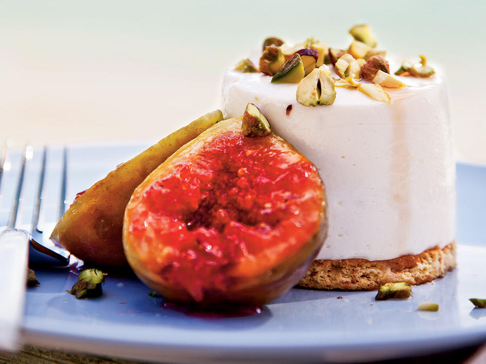 This delicate dessert blends sheep's-milk yogurt and a whiff of rose water into creamy cheesecakes served with grilled figs.