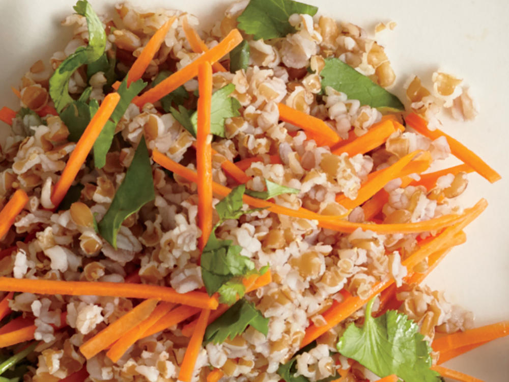 Bulgur is a form of whole wheat often used in European and Indian cuisine. Made with shredded carrot and chopped cilantro, this nutritious dish is high in fiber and protein and low in saturated fat.