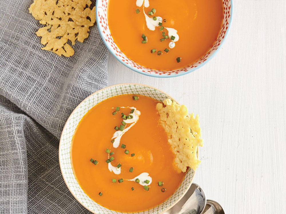 Carrot Soup With Parmesan Crisps