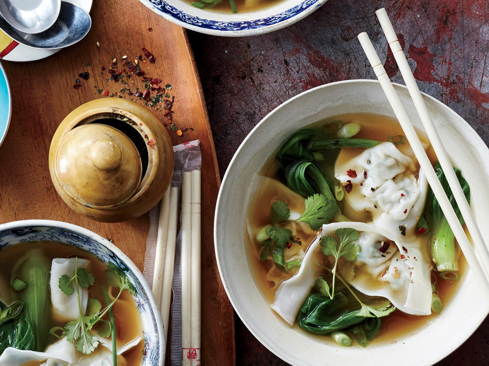 Chicken-Watercress Wonton Soup