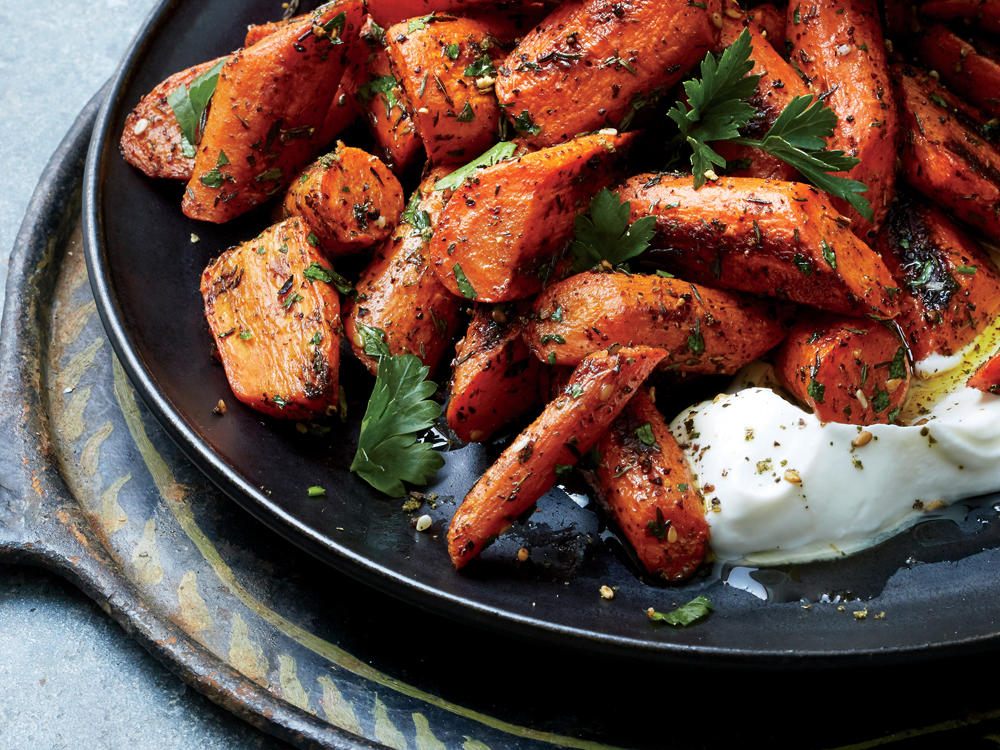 Za'atar-Roasted Carrots with Labne