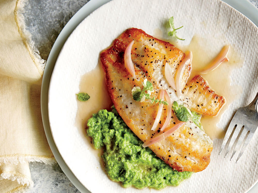 Pan-Seared Tilapia with Sweet Pea Puree