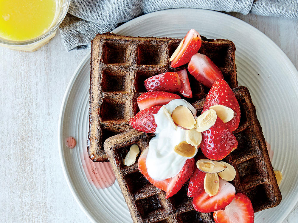 Chocolate Buckwheat Waffles with Juicy Berries