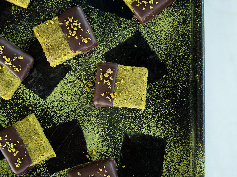 Chocolate-Dipped Whole-Wheat Matcha Shortbread