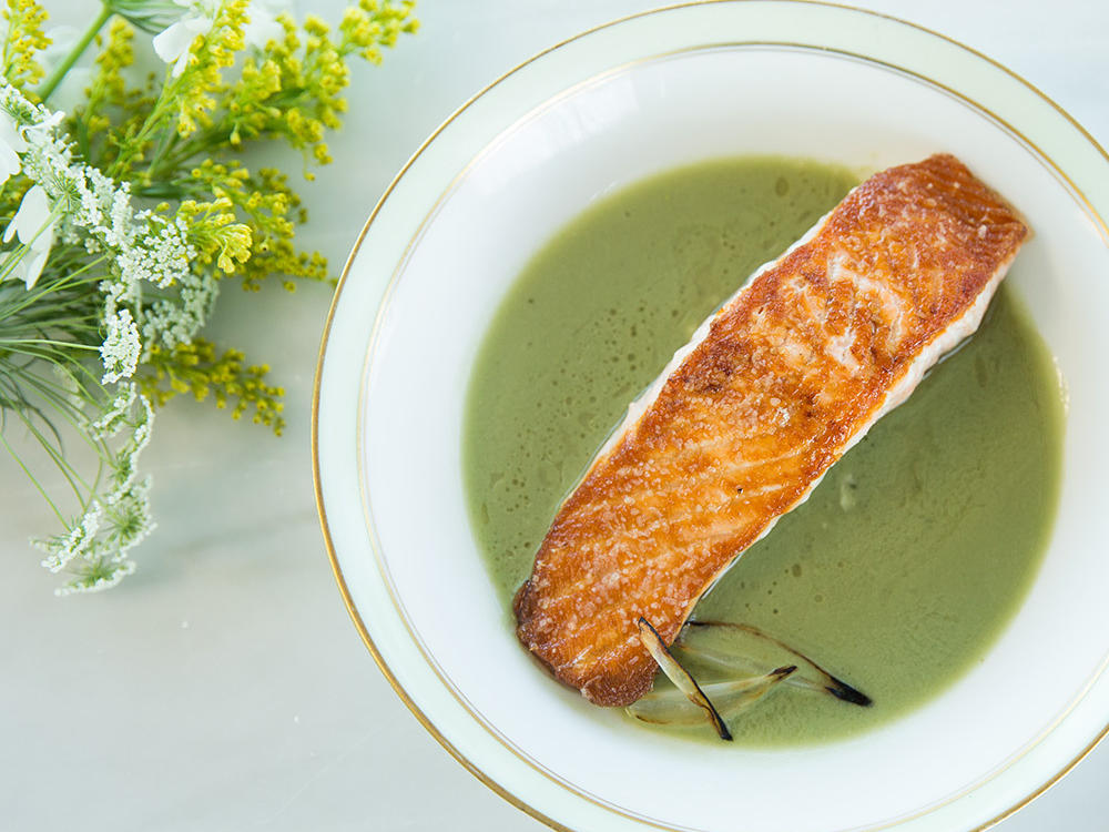Though we often think of matcha in sweet recipes, it can also be delicious in savory applications. Here, it lends depth to a broth made with coconut milk, lemongrass, and shallots.