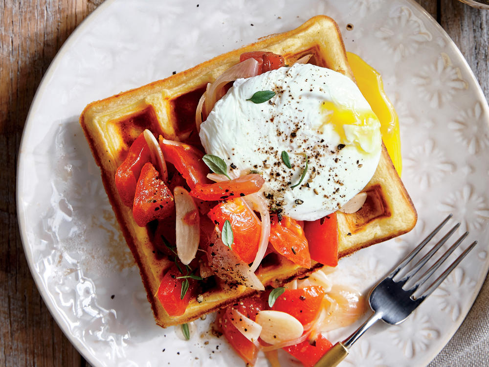 We swap sugary pancake syrup for a poached egg and use chickpea flour in place of refined for an extra punch of protein. Enjoy for a quick breakfast or dinner.
