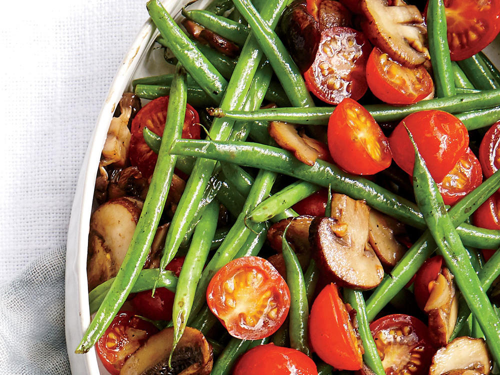 Sweet cherry tomatoes and earthy mushrooms tossed with delicate French green beans make a colorful and flavorful addition to your weeknight dinner.