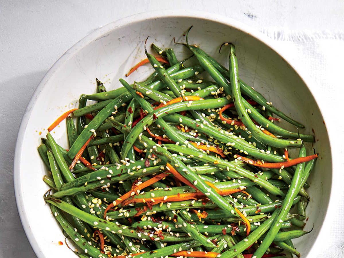 Haricots Verts with Carrots and Sesame
