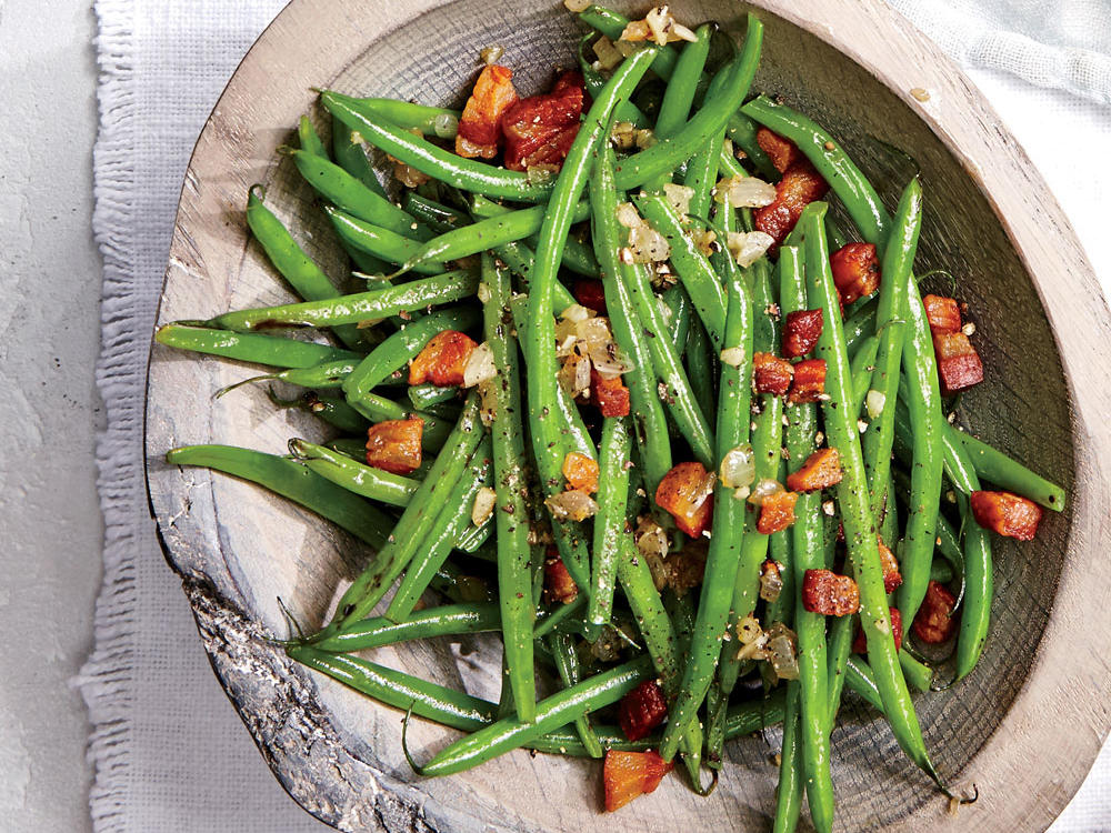 Pancetta and garlic sautéed with French green beans create a savory side that pairs well with chicken or fish.
