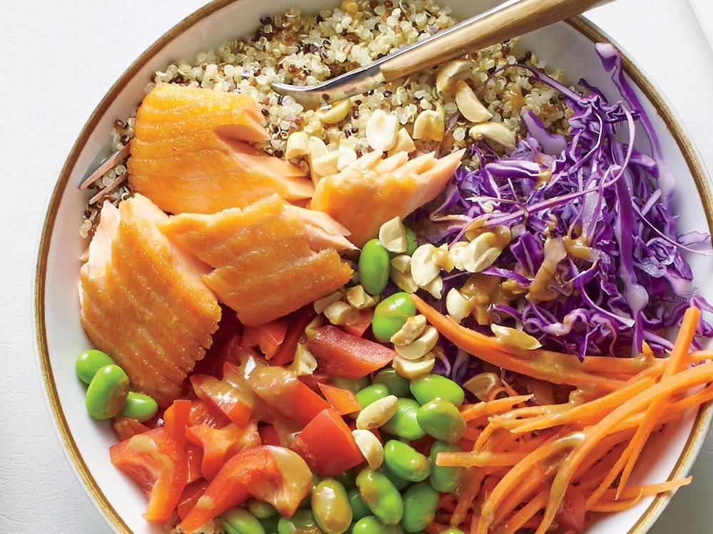 Add bright, bold colors to your palate with this nutty dinner. The sesame-peanut sauce is so downright delicious, you'll want to drizzle it over every meal.