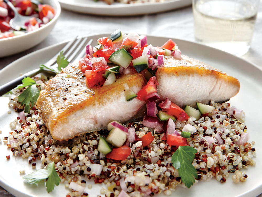 Seared Mahimahi with Tomato-Cucumber Relish