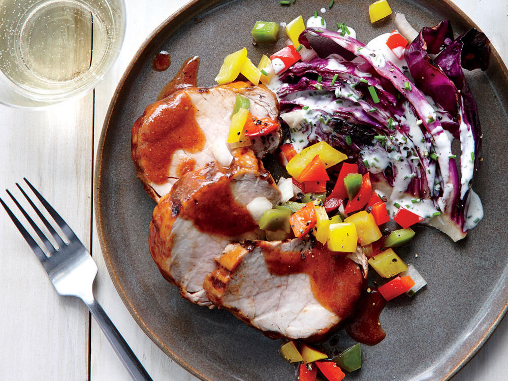 BBQ Pork Tenderloin with Bell Pepper Relish