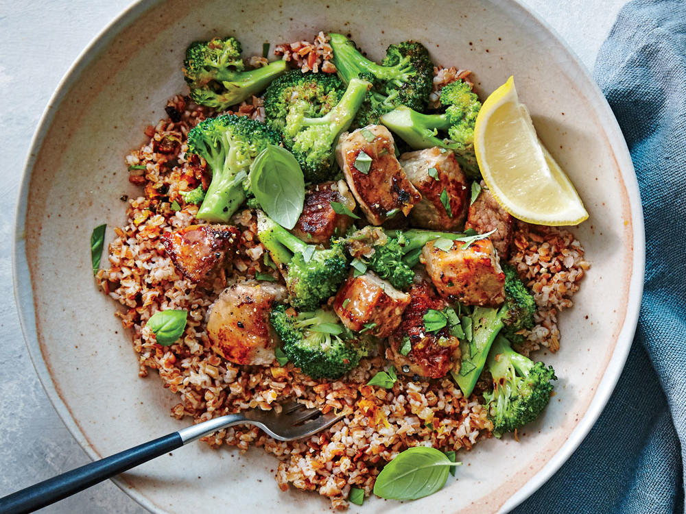 Lemon-Garlic Pork and Broccoli Bulgur Bowl