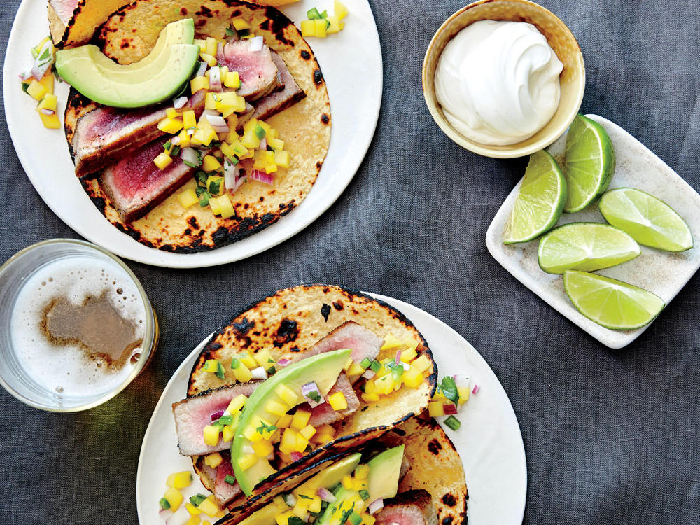 Pan-Seared Tuna Tacos with Avocado and Mango Salsa