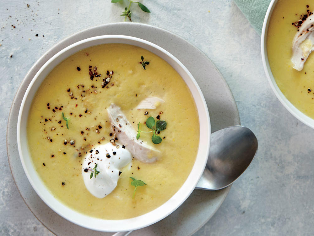 This silky, veggie-forward soup is a fantastic way to use up a load of fresh summer squash. This would also work well with zucchini.