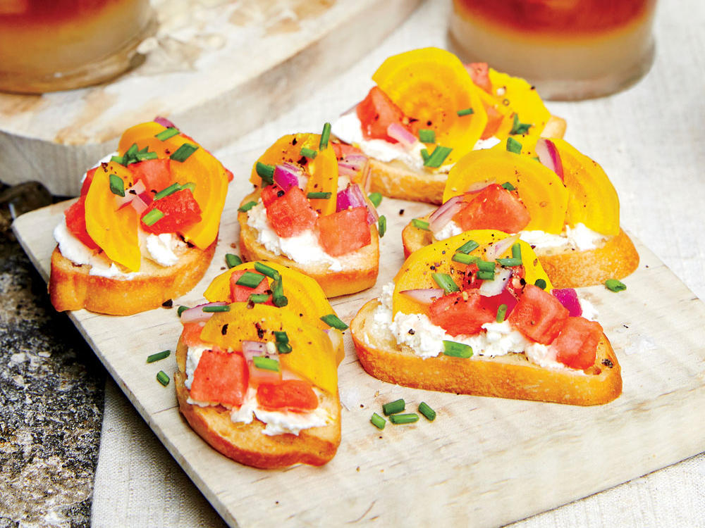 You can use any type of beet, or substitute chopped tomato or more watermelon. Juicy produce adds a nice balance to the tangy flavor of the goat cheese, without becoming runny or mushy. These mini crostinis make for the perfect appetizer for a crowd, or a fun summertime snack