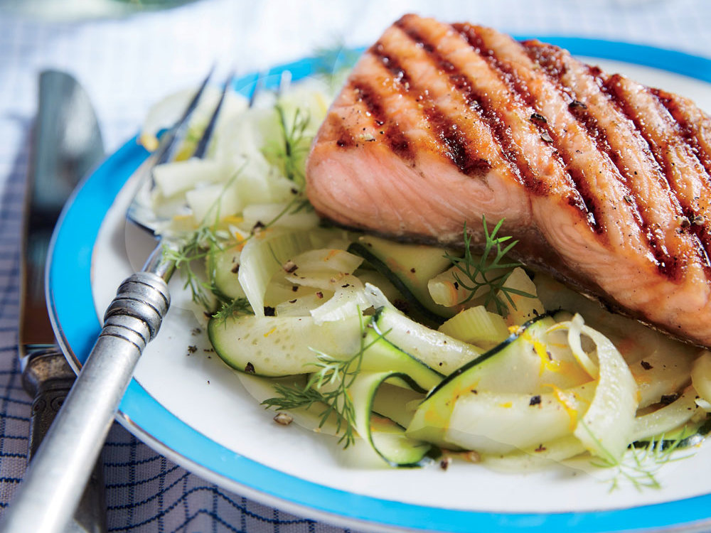 "Brown-Sugar Grilled Salmon with Zucchini and Fennel ""Noodles"""