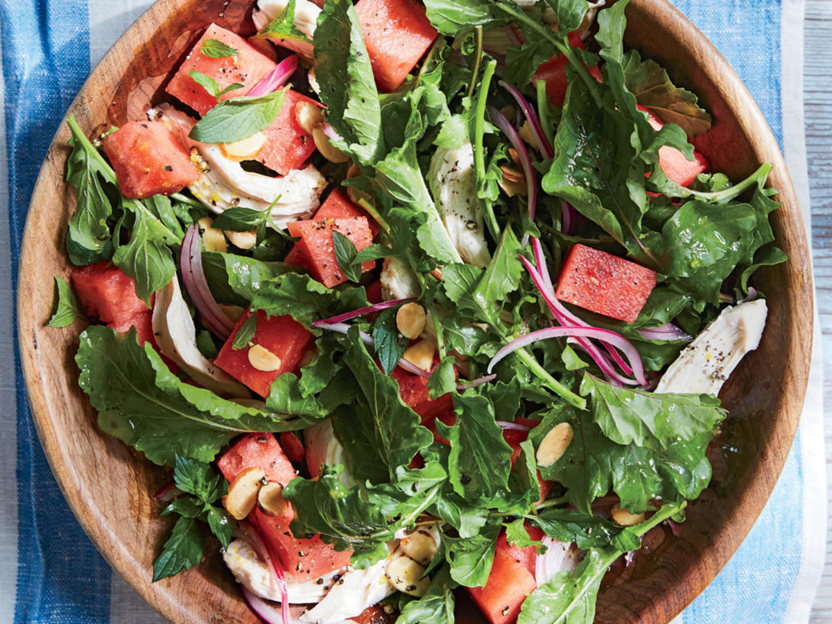 If watermelon wedges are a mainstay at your summer cookouts, try dicing for this instant, gorgeous salad. The sweetness of the fruit pairs beautifully with the smoky rotisserie chicken and fresh mint to create a summertime staple that will keep the family asking for seconds.