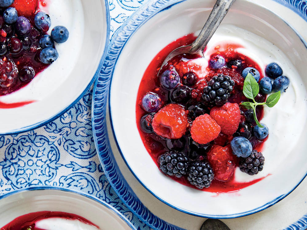 You may adapt this dessert to your taste by adjusting the blend of berries, the amount of honey, or even the amount of cheese. The idea is luxury in the amount of berries. Fromage blanc is wonderfully subtle; you can sub Greek yogurt, which is tangier.
