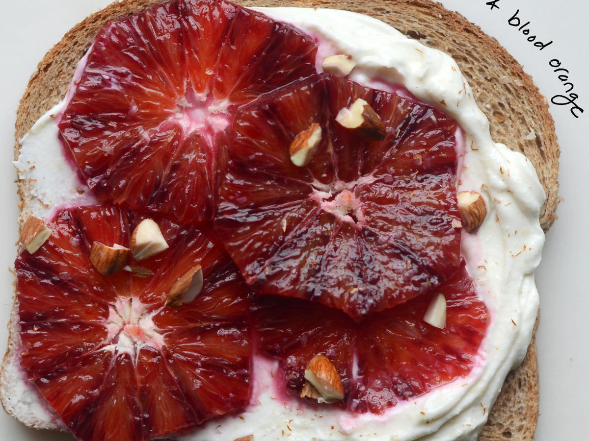 Toast with Greek Yogurt and Blood Orange