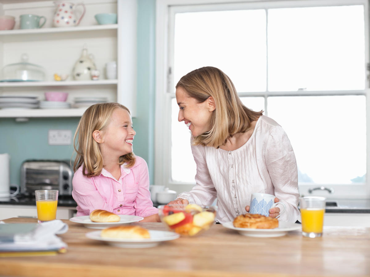 Mother Daughter Talking Breakfast