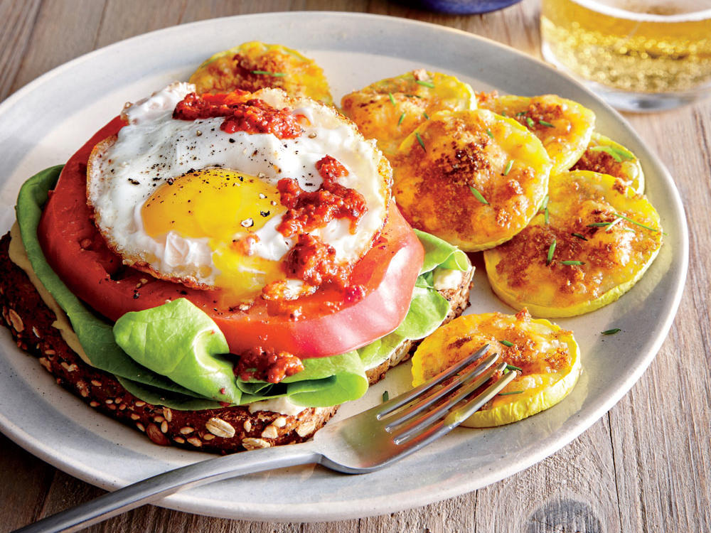 Vegetarian egg recipes cooking light egg and tomato open faced sandwiches forumfinder Images