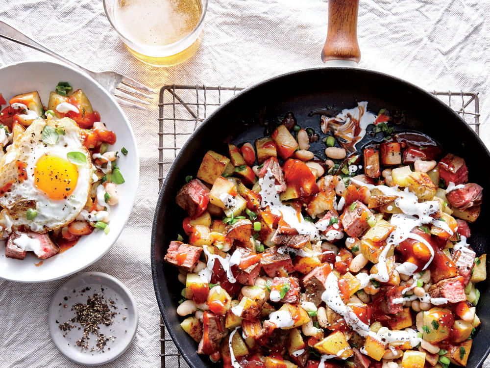 Hash is the king of reinvented leftovers. Here we've added a Southern barbecue spin. Four fried eggs top this protein-packed meal.