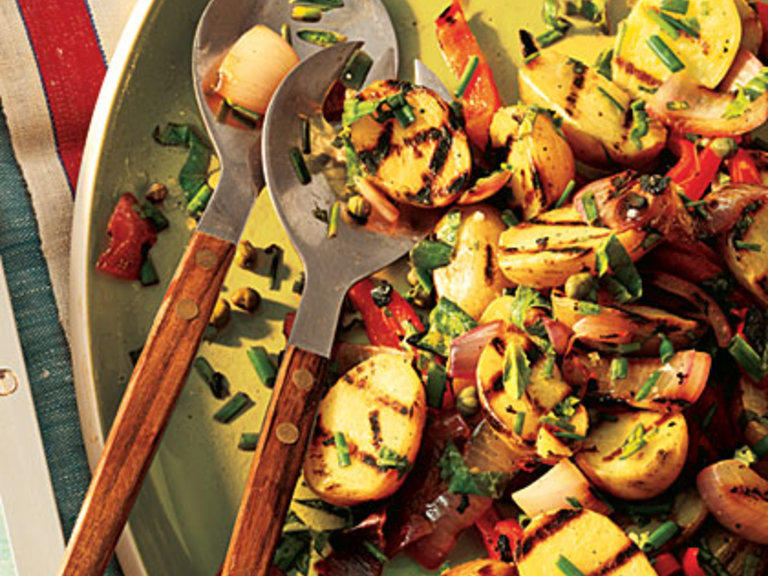 Grilling the vegetables brings unexpected smokiness to a familiar picnic staple.