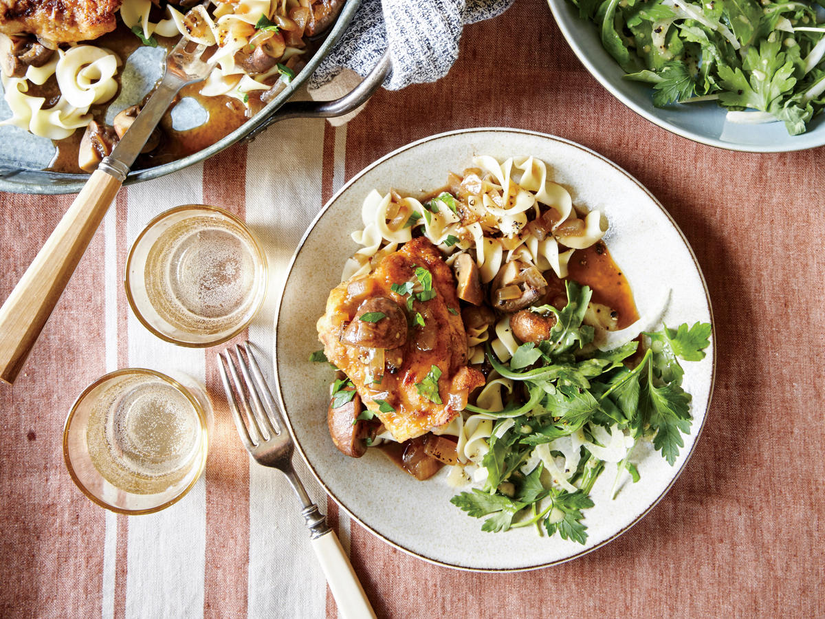 Beer-Braised Chicken Thighs with Cremini Mushrooms