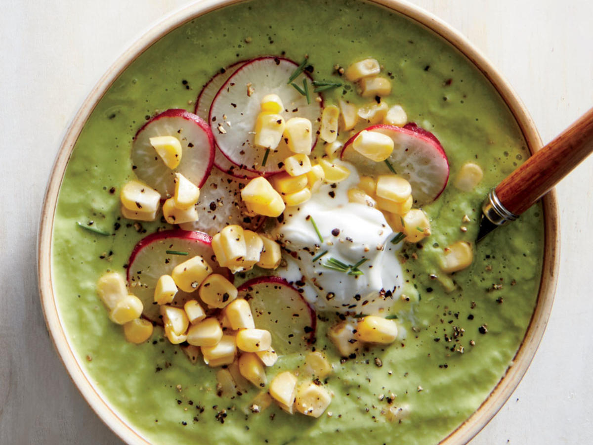 Green Gazpacho with Corn and Radish Salad