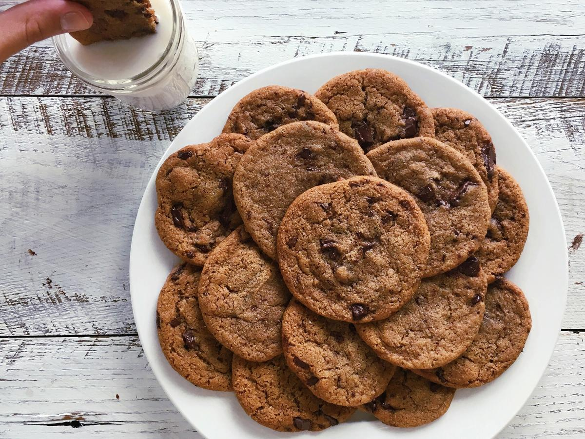 chocolate chip cookie plate with milk image