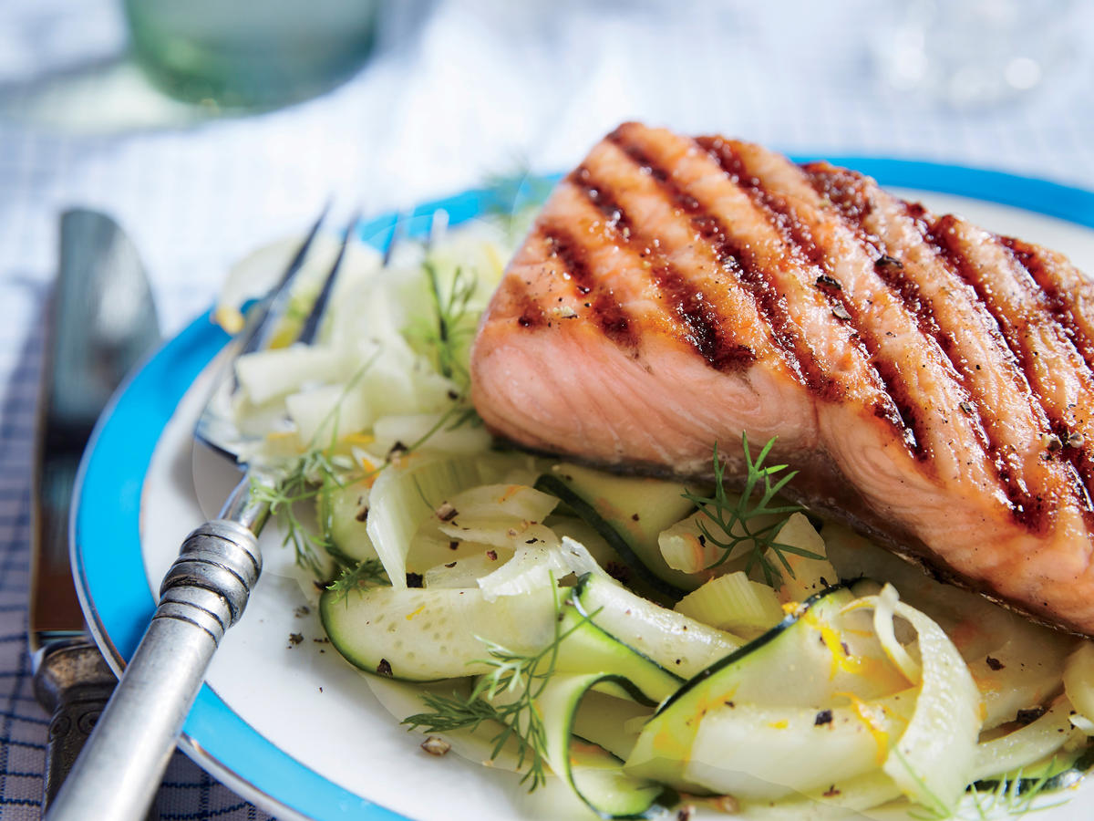 Sweet-and-tart brown sugar glaze gives fresh catch salmon fillets a tender crunch exterior and loads of rich flavor. Serve over a bed of zucchini and fennel ribbons, if desired.