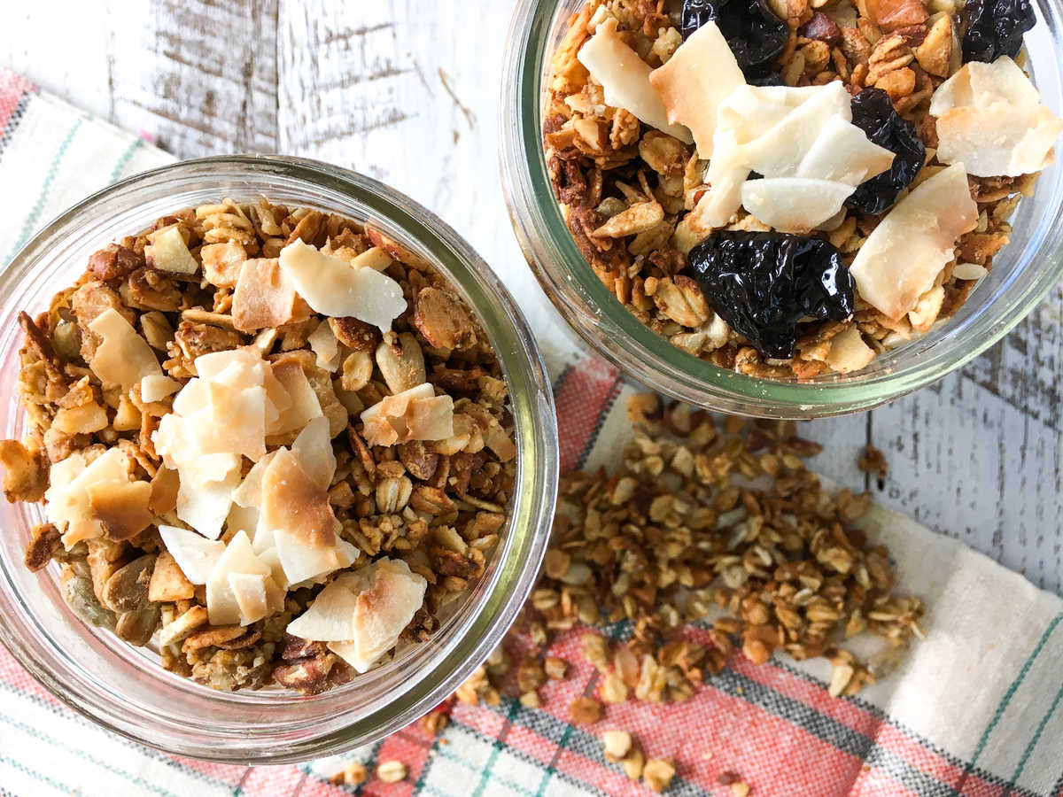 Toasted in the oven, homemade granola is full of flavor without the crazy amount of added sugar and calories from store-bought brands. This particular recipe uses fresh orange juice, minced crystallized ginger and dried coconut to add zest, spice and sweetness.